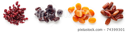 Heap of dried fruits isolated on white; from above 74399301