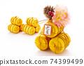 정월 장식 황금 쌀 가마니 74399499