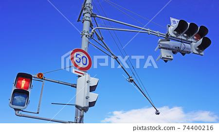 行人交通信號燈和車輛交通信號燈(紅燈) 74400216
