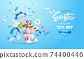 Happy Easter with surprise white gift box with colorful eggs, tulip flowers and blue ribbon. Open gift box isolated. Party, Shopping poster. Easter Sunday design banner 74400446