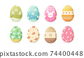 Set of Happy Easter eggs with different texture or pattern on white background. Cute eggs vector on spring holiday 74400448