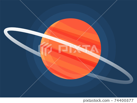 Cartoon red fantastic planet on dark blue space background. Saturn made of gases with ring of ice 74400877