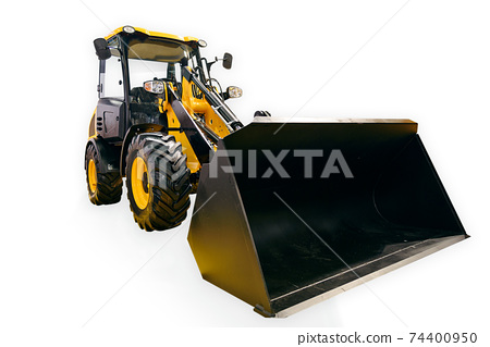 New generic yellow loader excavator isolated on a white background. PNG file with transparent background. 74400950