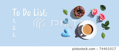 To Do List theme with a cup of coffee and a donut 74401017