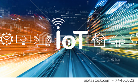 IoT theme with high speed motion blur 74401022