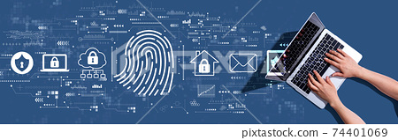 Fingerprint scanning theme with woman using a laptop 74401069