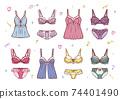 Fashionable lingerie women's underwear illustration set 74401490