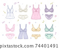 Fashionable lingerie women's underwear illustration set 74401491