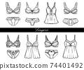 Fashionable lingerie women's underwear illustration set 74401492