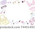 時尚可愛的化妝品和時尚物品 74401493