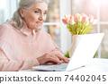Portrait of happy senior woman using laptop 74402045