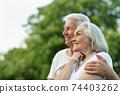Portrait of a beautiful senior couple posing 74403262