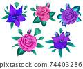 Modern flower design for print. Floral design concept. Vector illustration 74403286