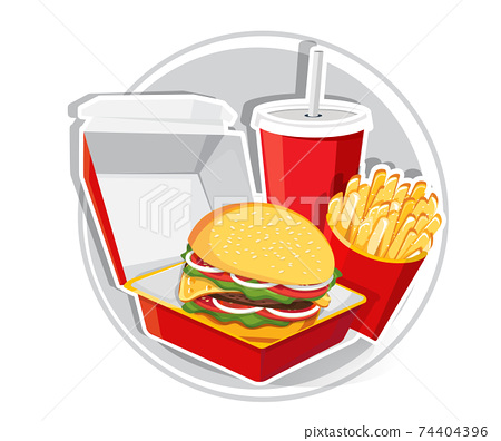 Fast food, Tasty set fast food vector isolated on white background 74404396