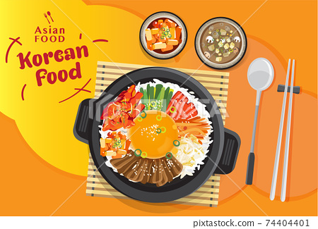 Korean cuisine Bibimbap set, Rice mixing with various ingredients in black bowl, top view vector illustration 74404401