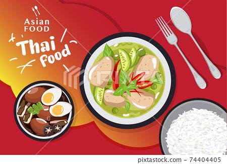 Thai food set traditional , Asian food menu vector illustration 74404405