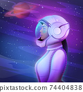 Beautiful young afro space girl astronaut in a spacesuit and helmet on the surface of the planet looks at the stars vector illustration 74404838