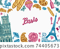 Paris background in vintage retro style. France poster or banner, eiffel tower and buildings. Retro 74405673