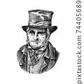 Old man in a vintage suit. Poor peasant in a hat. Victorian era character, antique style. Engraved 74405689