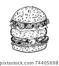 Burger in vintage style. Fast food of vegetables, cutlets and buns. Hand drawn vintage illustration 74405698