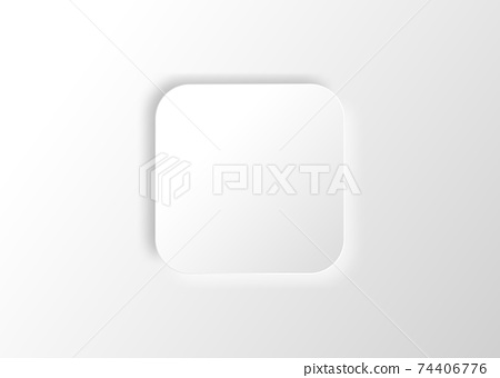 Neumorphic square. Blank banner. Copy space. White geometric shape in a trendy soft 3D style with shadow, vector illustration 74406776