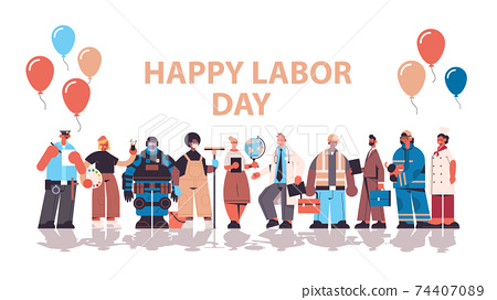 people of different occupations celebrating labor day workers wearing masks to prevent coronavirus pandemic 74407089