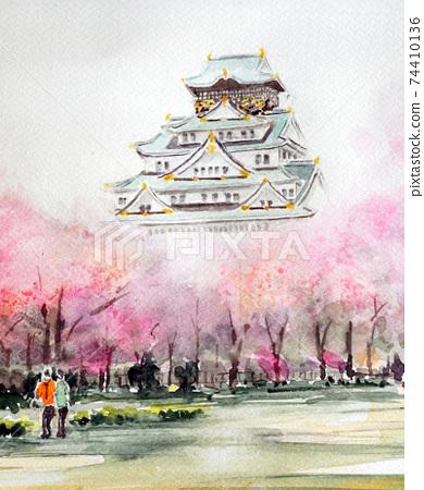 Osaka Castle Spring Osaka Castle Park Japanese Spring Cherry Blossoms 74410136