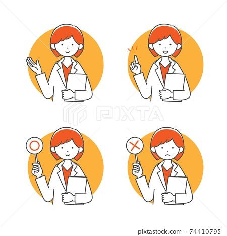 藥劑師或女醫生向病人解釋的插圖材料 74410795