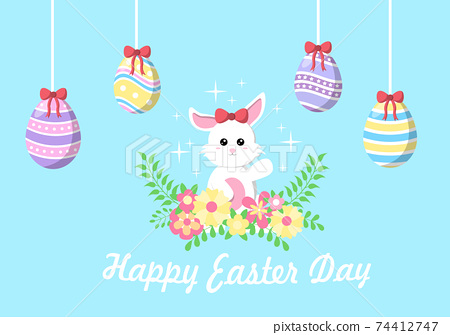 Happy Easter Day Flat Design Illustration Background for Poster, Invitation, and Greeting Card. Rabbit and Eggs Concept. 74412747