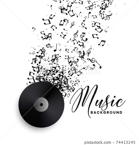 music record label vinyl with bursting notes background 74413245