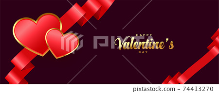 happy valentines day premium banner with ribbon and hearts 74413270