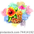 Cocktail with pineapple and tropical flower on a colorful splash background. For design cards or posters. 74414192