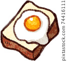 Fried egg toast illustration material 74416111