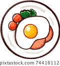 Fried egg / ham and eggs illustration material 74416112