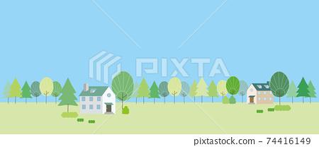 新鮮的綠樹和村莊的景觀插圖 74416149
