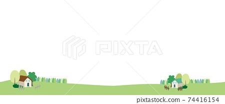 在新鮮的綠色村莊的房屋景觀圖 74416154