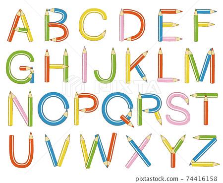 彩色鉛筆系列(字母,英語,字母) 74416158