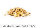 Uncooked oats breakfast cereals isolated 74416927