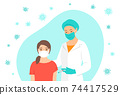 Doctor gives a shot of covid vaccine to patient 74417529