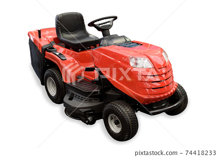 Gardening equipment - generic red tractor mower isolated on a white background. PNG file with transparent background. 74418233