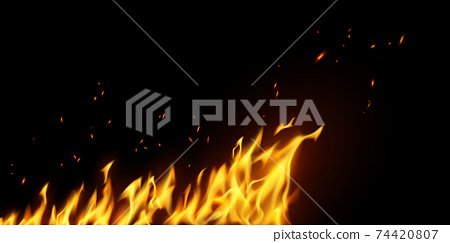 fire flames Burning red hot sparks realistic abstract background 74420807