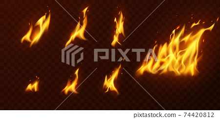 fire flames Burning red hot sparks realistic abstract background 74420812