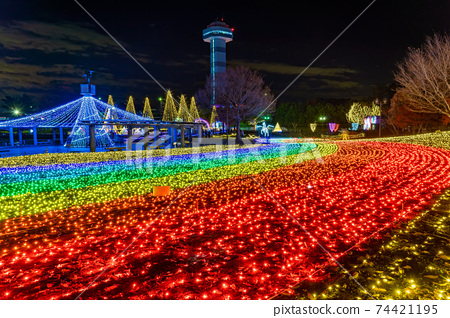 기후현 가이즈시 기소 삼강 공원 센터의 일루미네이션 이벤트 겨울 빛 이야기 74421195