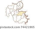 Oita Prefecture Oita City Prefectural / Administrative Area Map 74421965