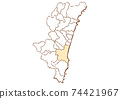Miyazaki City, Miyazaki Prefecture Map of administrative areas by prefecture 74421967