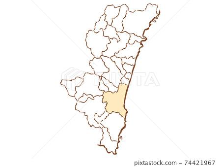 宮崎縣宮崎市各行政區域地圖 74421967