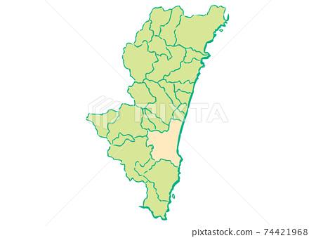 宮崎縣宮崎市各行政區域地圖 74421968