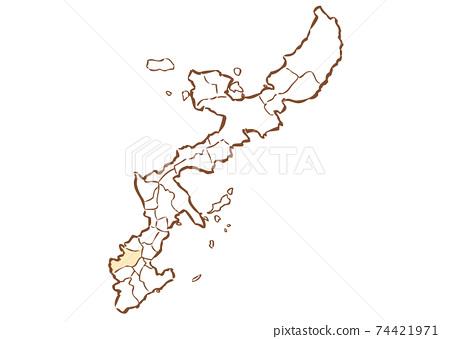 沖繩縣那霸市各行政區域地圖 74421971