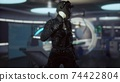 futuristic woman in sci fi laboratory 74422804