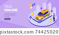 Online technology order taxi isometric 74425020